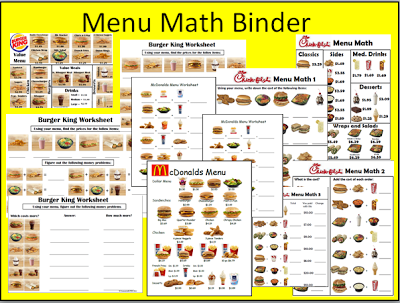menu math using fast food menus  teaching ideasteaching  menu math using fast food menus