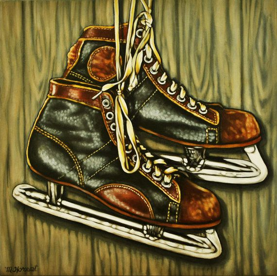 Original oil painting, Vintage Skates, painting of hockey skates, man cave gift, 8 x 8 inches square