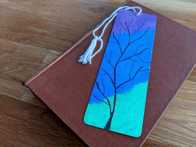 Bookmark Original No Print Watercolor With Tree Watercolor