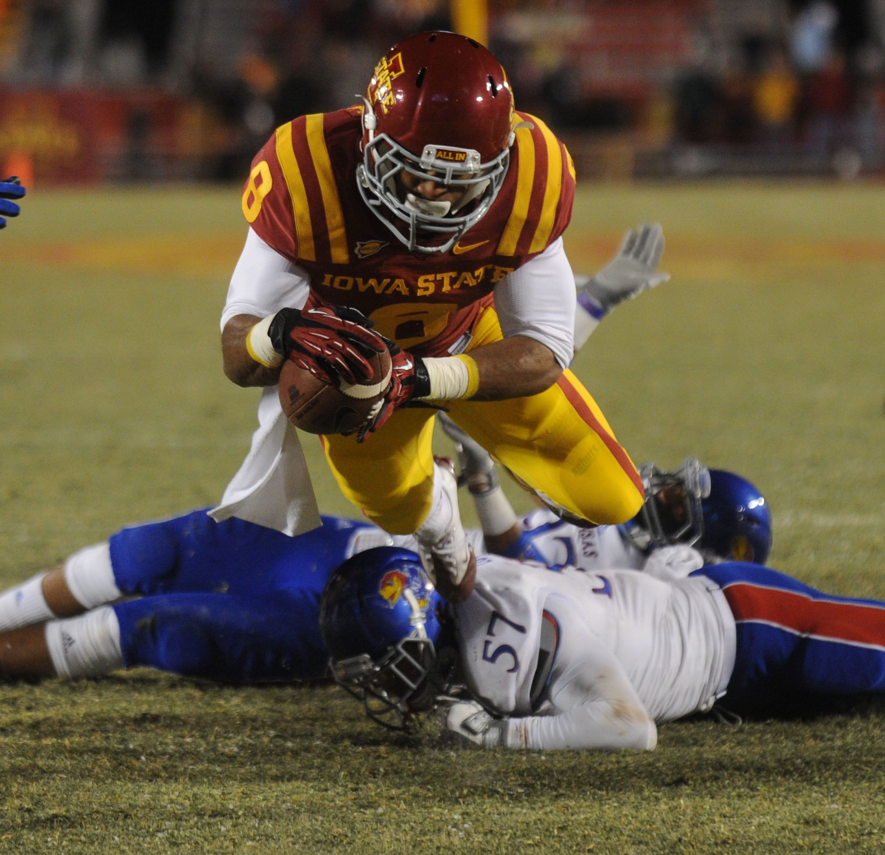 Iowa State Running Back James White Drives For A Touchdown Over
