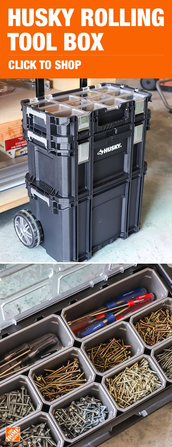 Husky 22 In Connect Rolling System Plastic Tool Box 230381 The Home Depot Plastic Tool Box Tool Box Rolling Tool Box