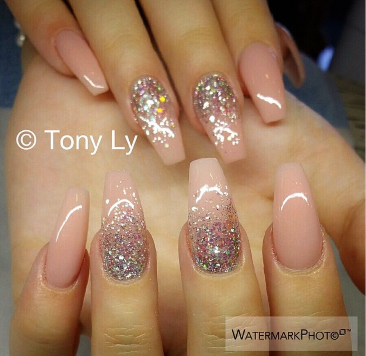 Nude Sparkle Nails Nails Pinterest Sparkle Nails Nude