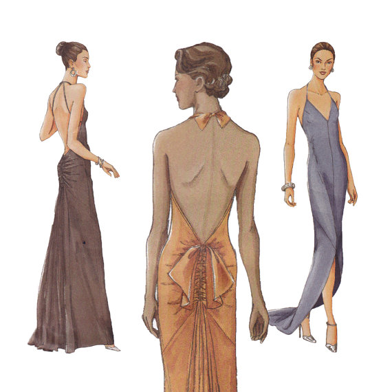 Backless Evening Dress Sewing Pattern - Vogue 7365 - Formal Gown ...