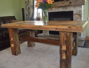 Elegant Handcrafted Harvest Table With Hand Hewn Beam Legs