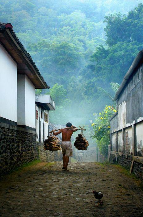 Morning At Tenganan Village Bali Indonesia These People