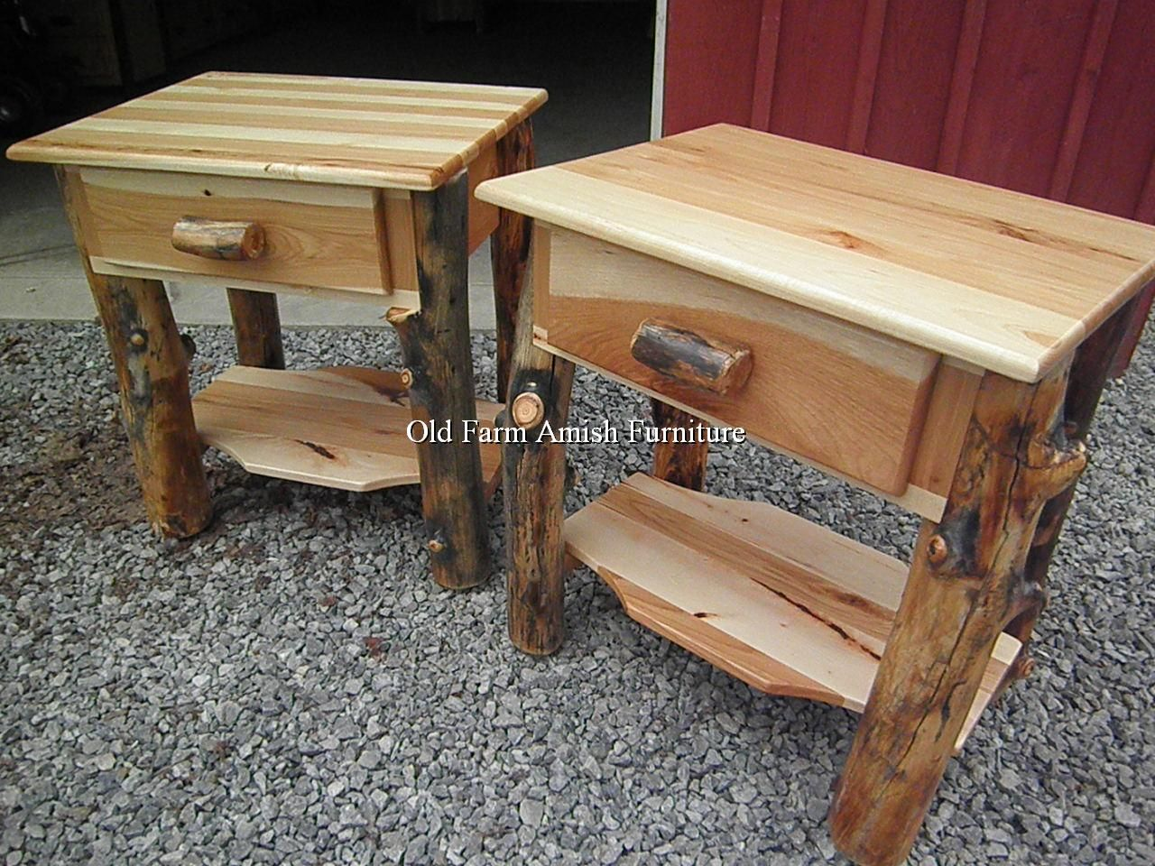Exceptional Aspen Log Nightstands Old Farm Amish Furniture   Dayton, PA (814) 257