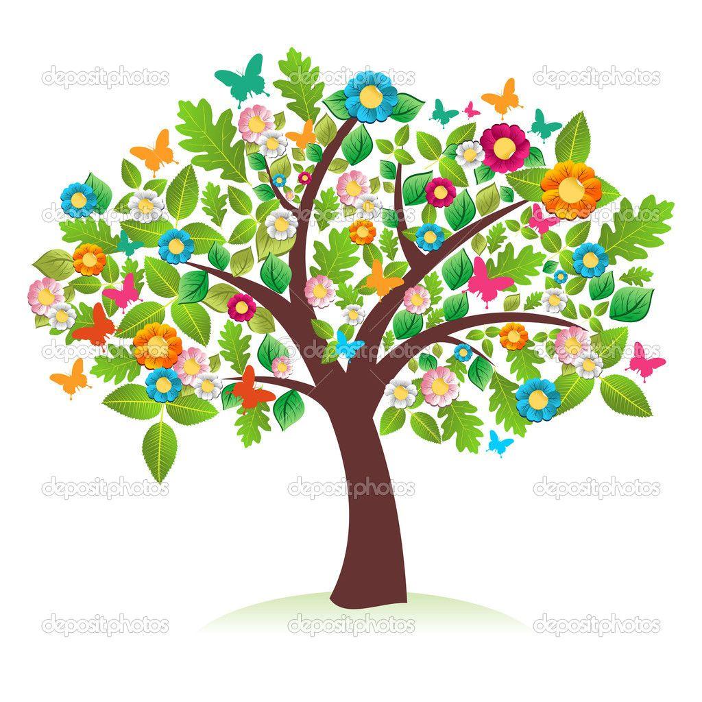 Resultado de imagen para primavera animada | Arboles de colores, Pinturas  de arboles, Dibujos de árboles
