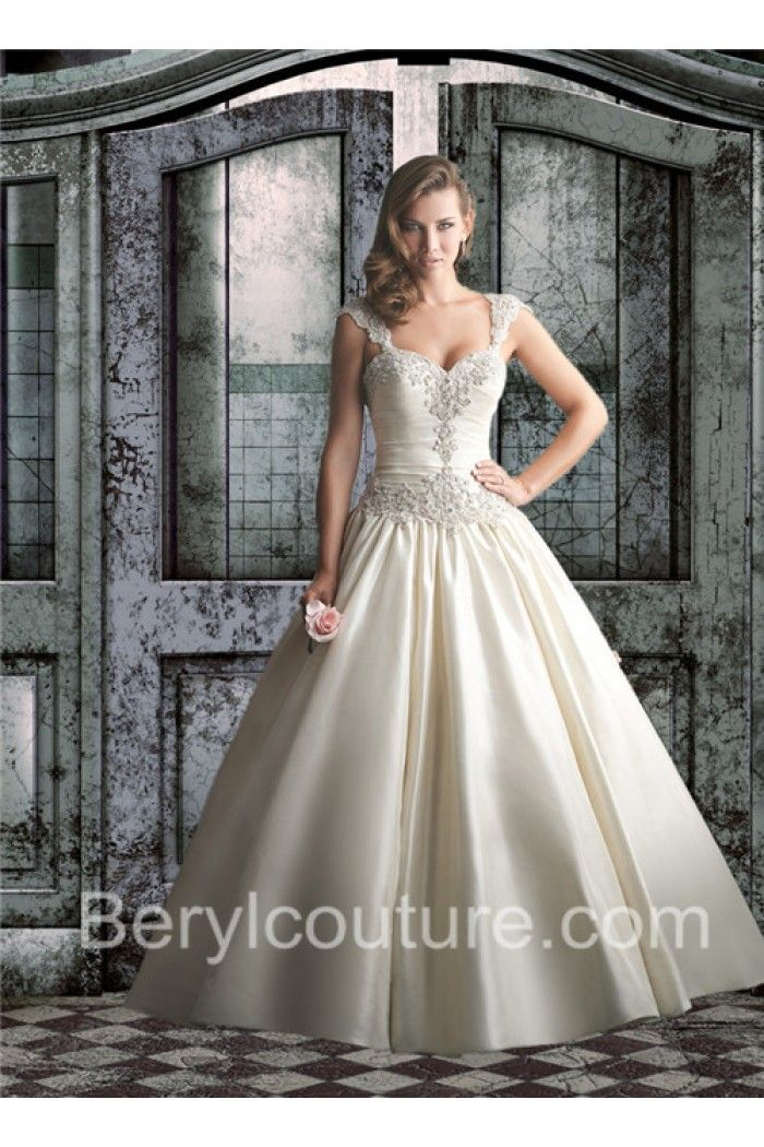 Ball Gown Sweetheart Drop Waist Ivory Satin Ruched Wedding Dress Beaded Straps