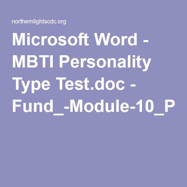Microsoft Word - MBTI Personality Type Test doc - Fund_-