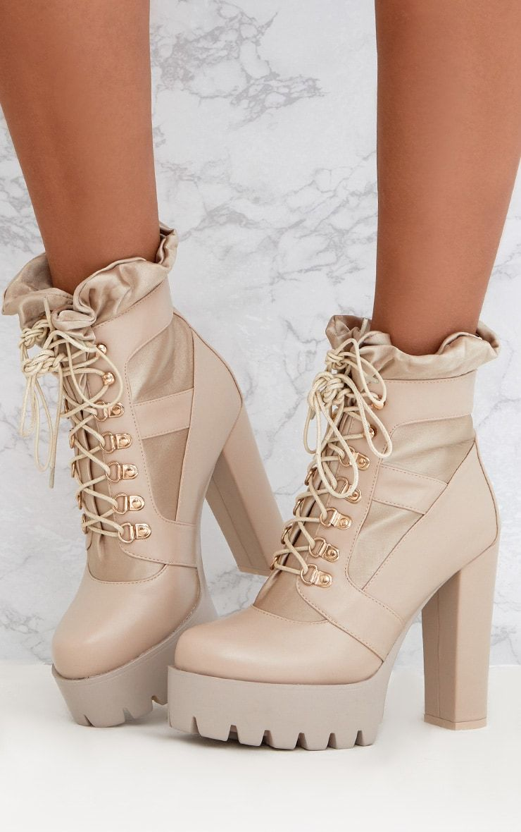 PRETTYLITTLETHING Ruched Lace Up Platform Ankle Boots nCdgt