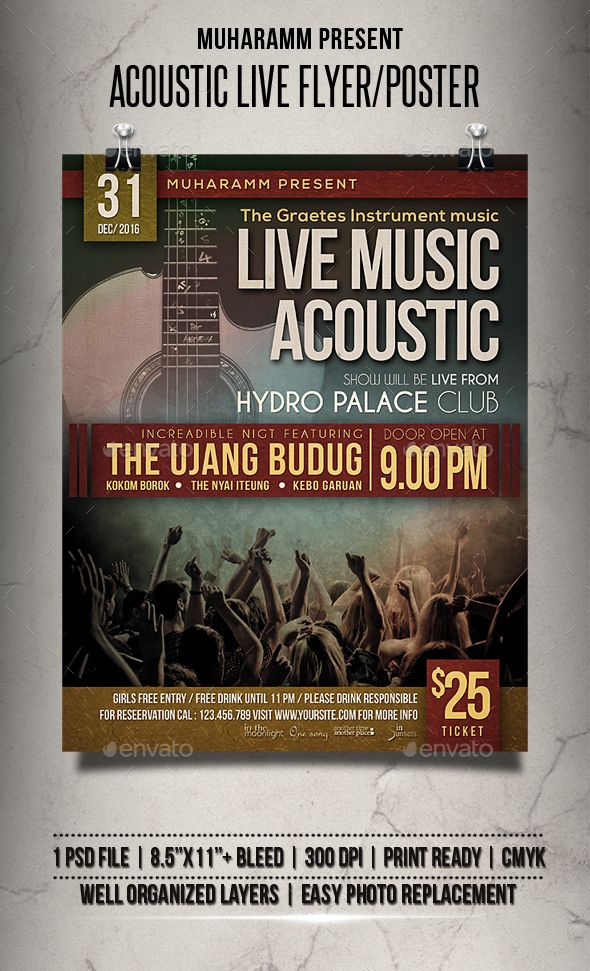Acoustic Live Flyer \/ Poster Acoustic, Template and Flyer template - band flyer template