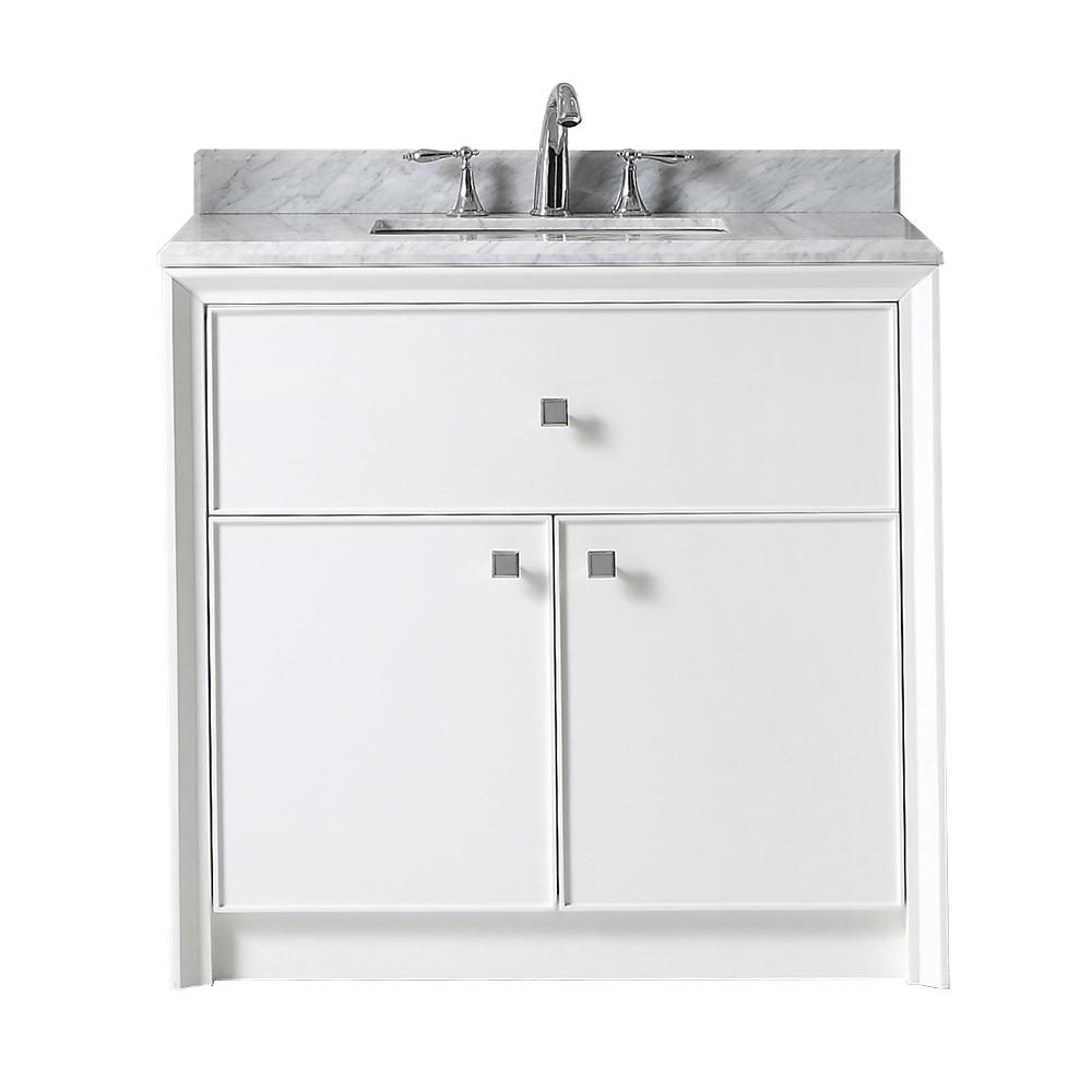 Martha Stewart Living Parrish 36 In W X 22 In D Vanity In Bright White With Marble Top In Grey White With White Basin Vanity Martha Stewart Living Marble Top