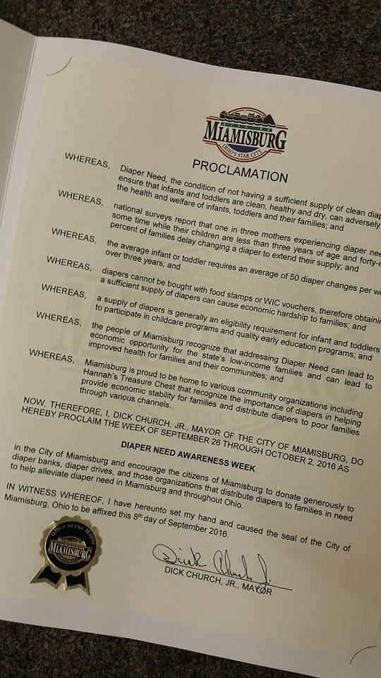 MIAMISBURG, OH- Mayoral proclamation recognizing Diaper Need Awareness Week (Sep. 26-Oct. 2, 2016) #DiaperNeed Diaperneed.org