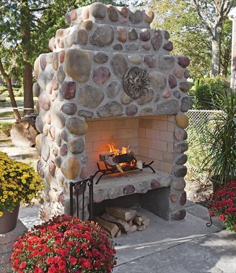 Beautiful Rustic Outdoor Fireplace Design Ideas 687: Beautiful River Rock Fireplace