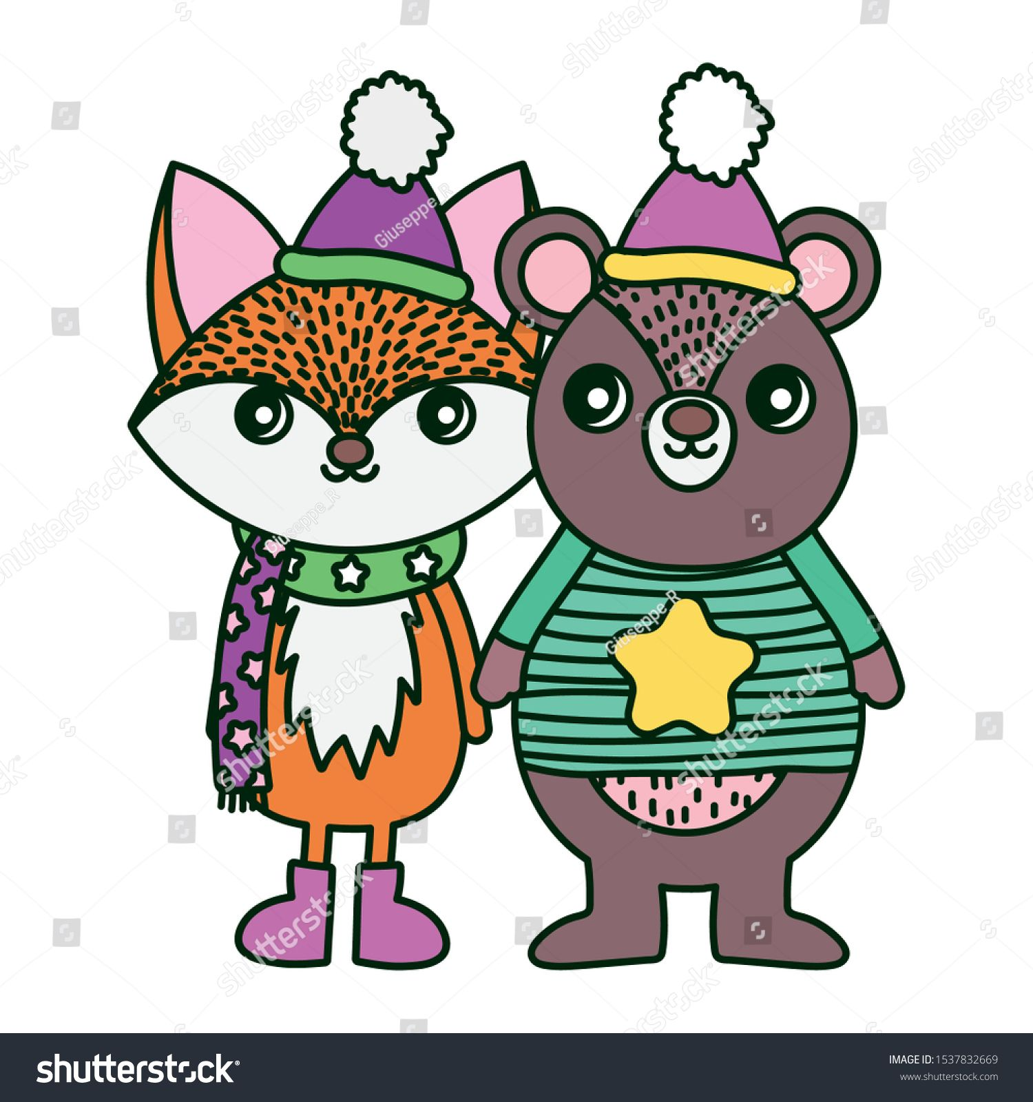cute bear and fox with hat and scarf merry christmas ...