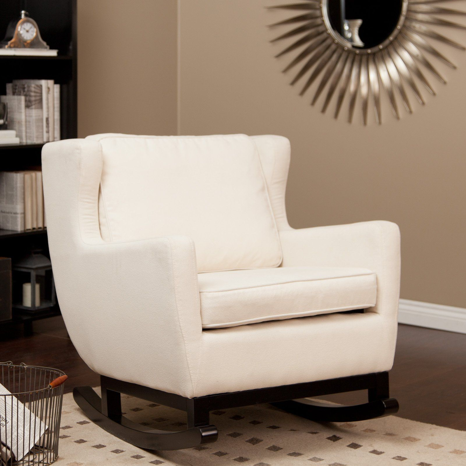 Belham Living Upholstered Rocking Chair   Cream   Indoor Rocking Chairs At  Hayneedle