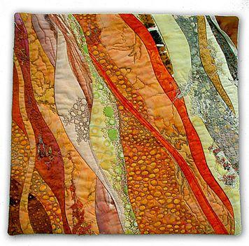 Hilde Morin fiber art: PEACH CRUMBLE;    random curve pieced, machine quilted, cotton lace appliquéd