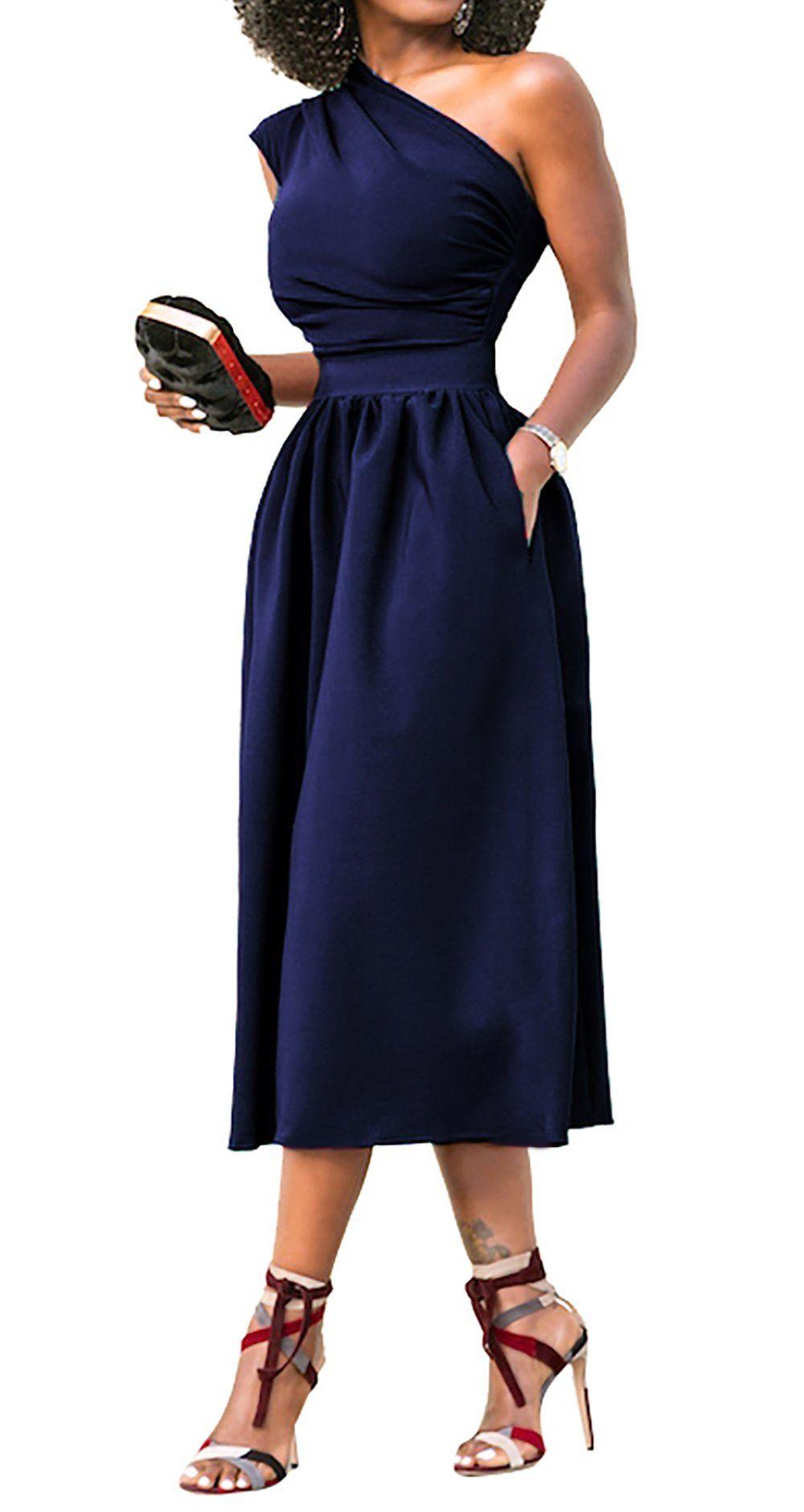 Womens dresses wedding guest  JUSICA Womens Navy Blue Vintage Sleeveless One Shoulder Wedding