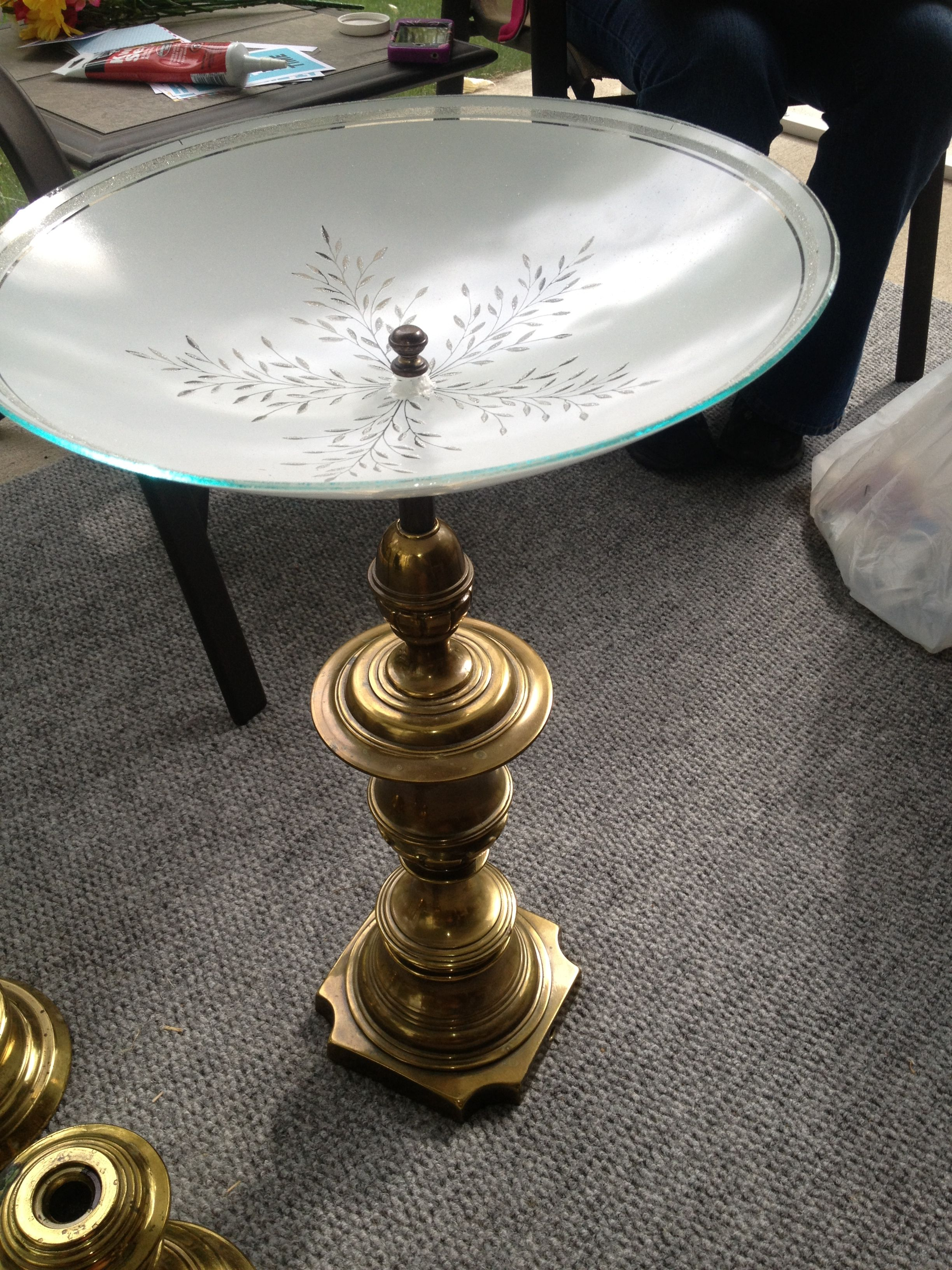 Repurposed Lamp And Ceiling Light Fixture Into A Bird Bath