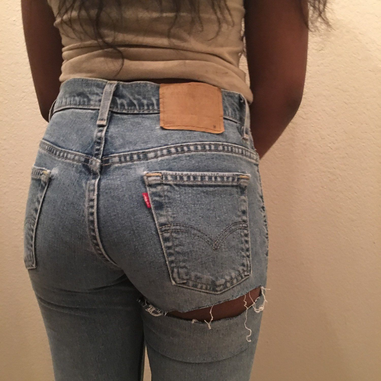 Hole in jeans porn