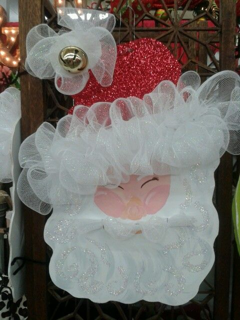 Santa wooden face painted and Deco Mesh around hat too cute!!!