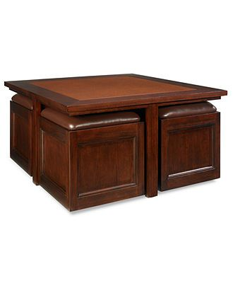Kanson Square Coffee Table With Storage Cubes Console End Tables Furniture Macy S This Would Solve Seating Issues In The Living Room
