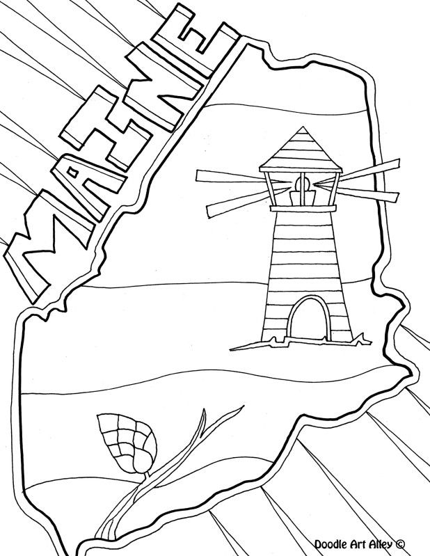 Maine Coloring Page By Doodle Art Alley Coloring Pages