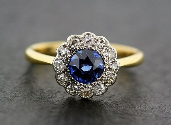 Wow Antique Sapphire Engagement Ring 1930s By