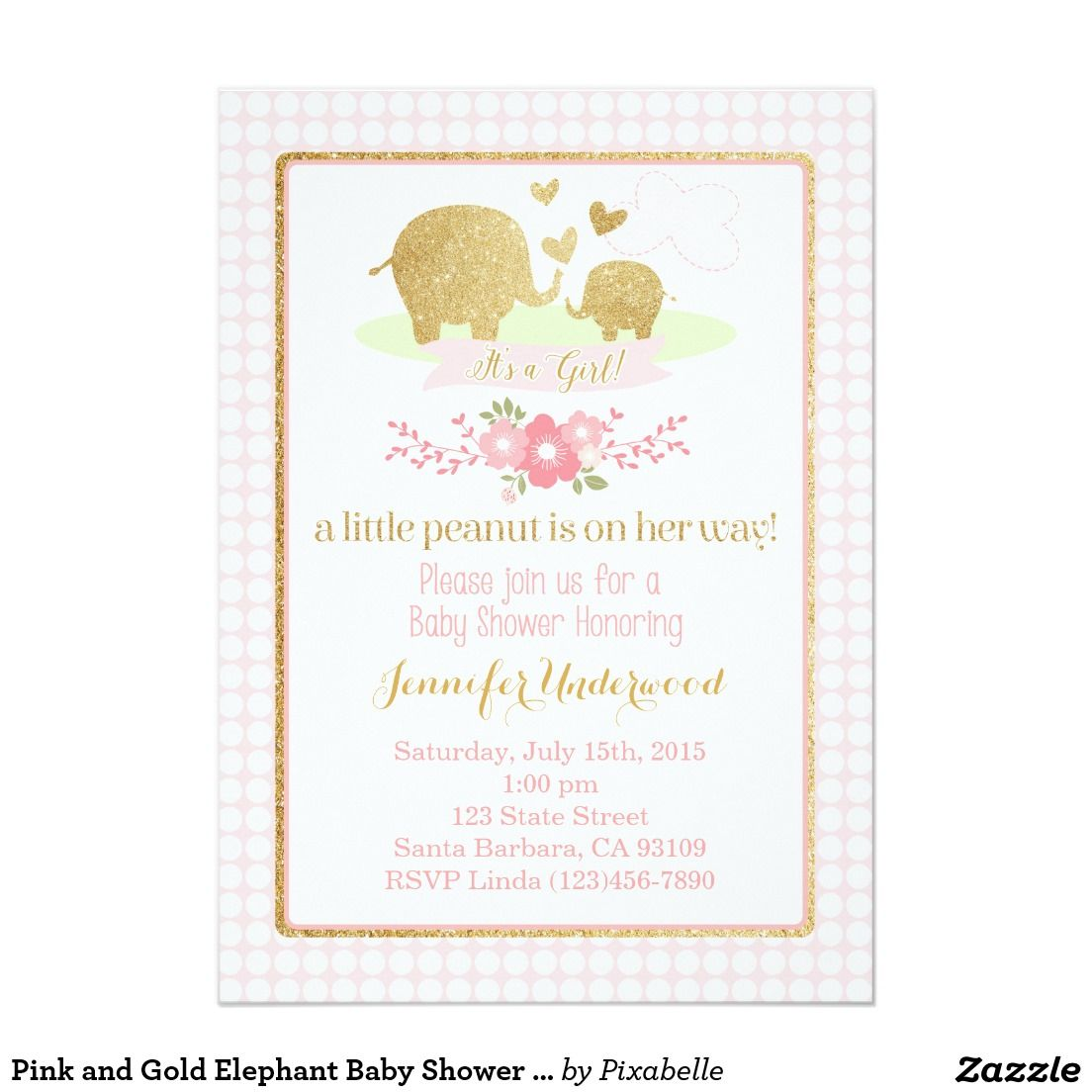 Pink and Gold Elephant Baby Shower Invitation | Elephant baby ...