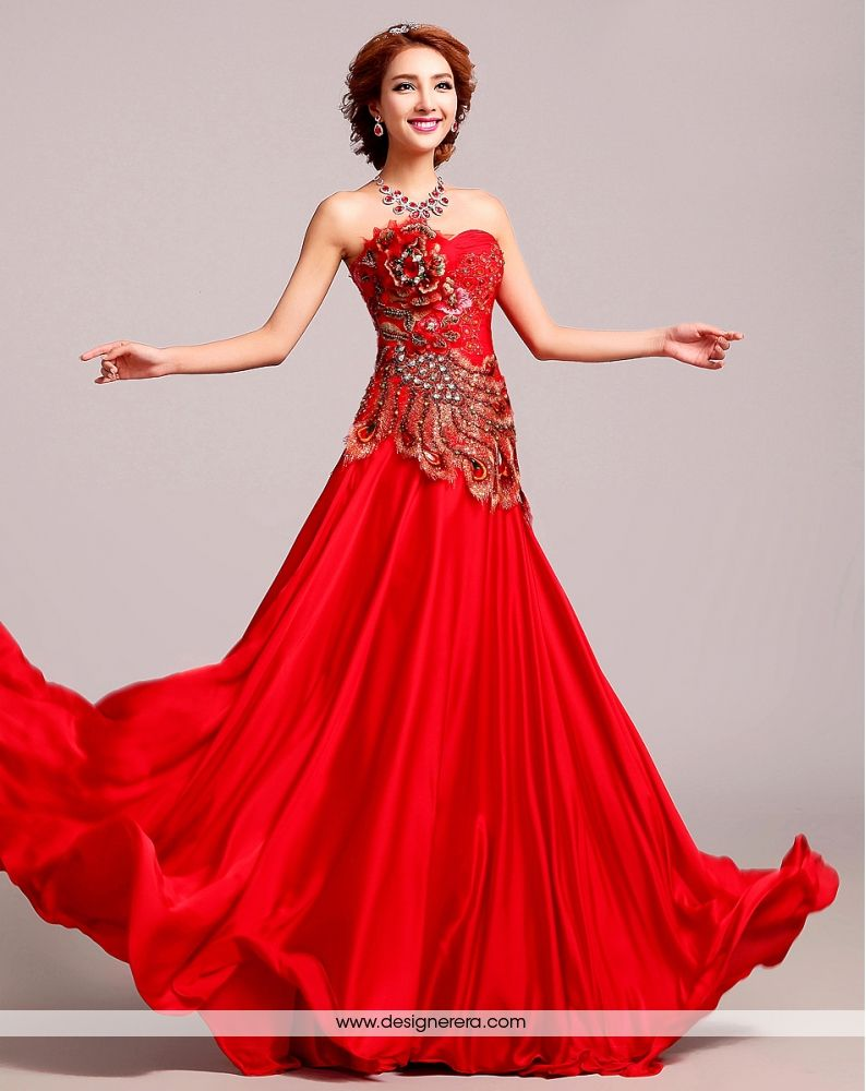 de fabulous red and golden embroidered beading long engagement gown