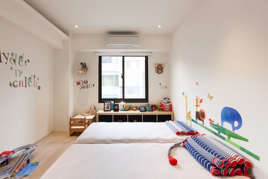 Minimalist kid friendly apartment for urban family colorful and contemporary kids room idea decorated