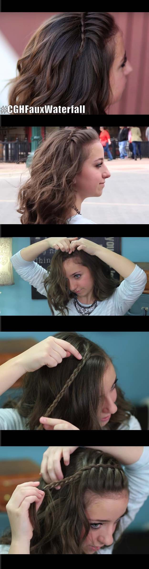 Quick and easy hairstyles for straight hair diy faux waterfall