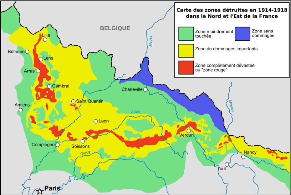 The real no go zone of france a forbidden no mans land poisoned world war 1 map of areas destroyed in 1914 18 the red zone is still completely off limits to anyone due to extreme chemical pollution poison gas canisters gumiabroncs Choice Image