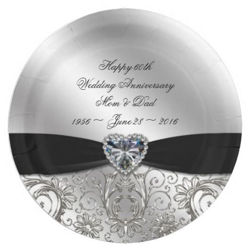 60th Diamond Wedding Anniversary Paper Plate  sc 1 st  Pinterest & 60th Diamond Wedding Anniversary Paper Plate | coming soon stay ...