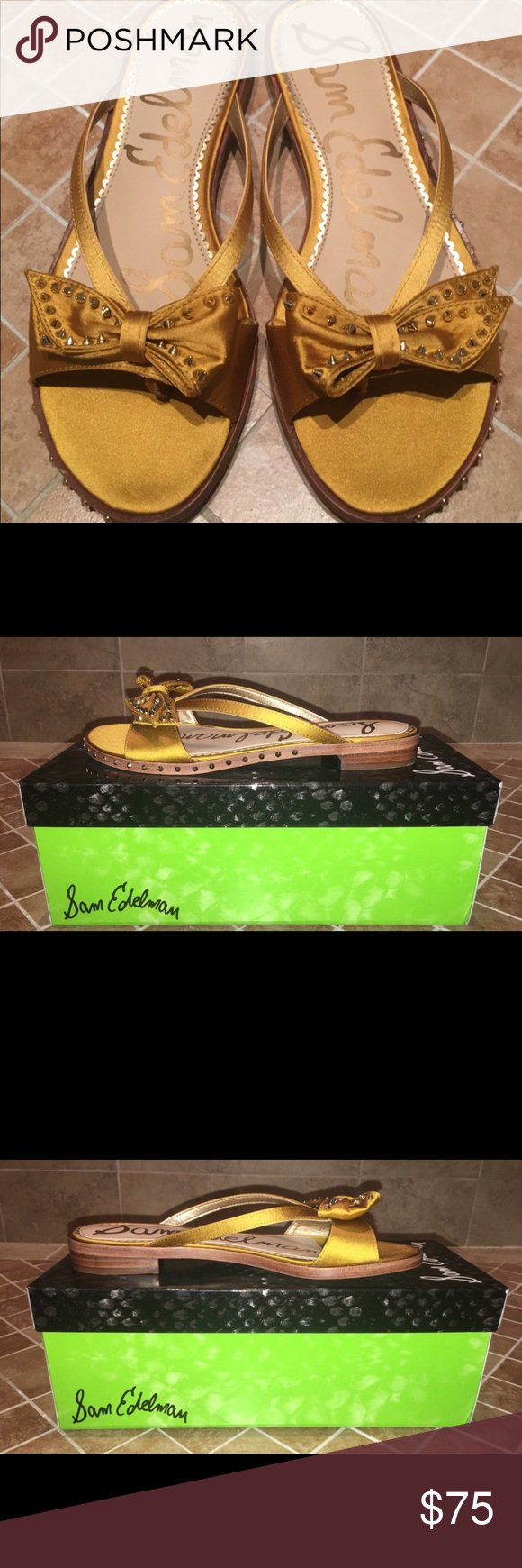 9e8e75b8d96b NIB Sam Edelman Dariel Studded Bow Slides Size 7 •Slides featuring studs  with ribbon decoration