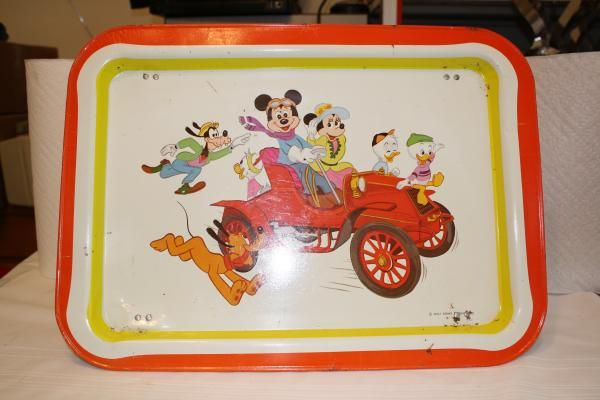 "Vintage Mickey Mouse in car metal TV tray **wear/dents/scratches** 17"" x 12.5"" x 5.5"" $25"