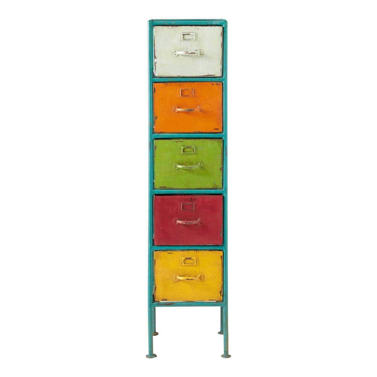 maison du monde ambiance vintage ou industrielle colonne de rangement en mtal multicolore h 128 cm mojito dimensions cm h 128 x l 33 x pr 33 14999