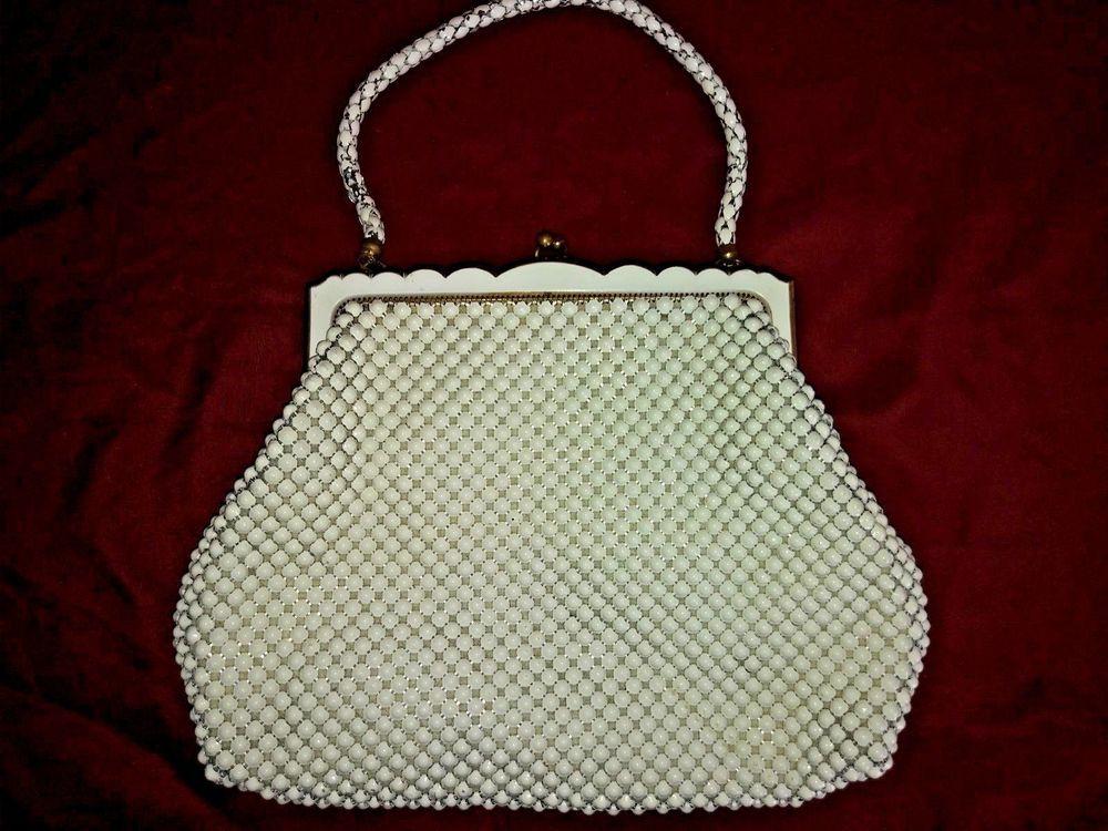 Whiting   Davis Alumesh Bakelite Purse Vintage 1940s Bag Beaded White  Clutch  WhitingDavis  EveningBag  Everyday 1fcde4f6a3776