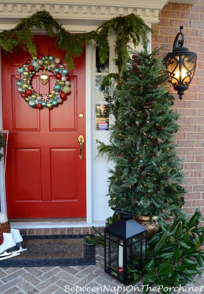 Outdoor Topiary Trees With Lights Decorating the porch for christmas christmas porch topiary trees martha stewart topiary tree with lights on a decorated christmas porch by between naps on the workwithnaturefo