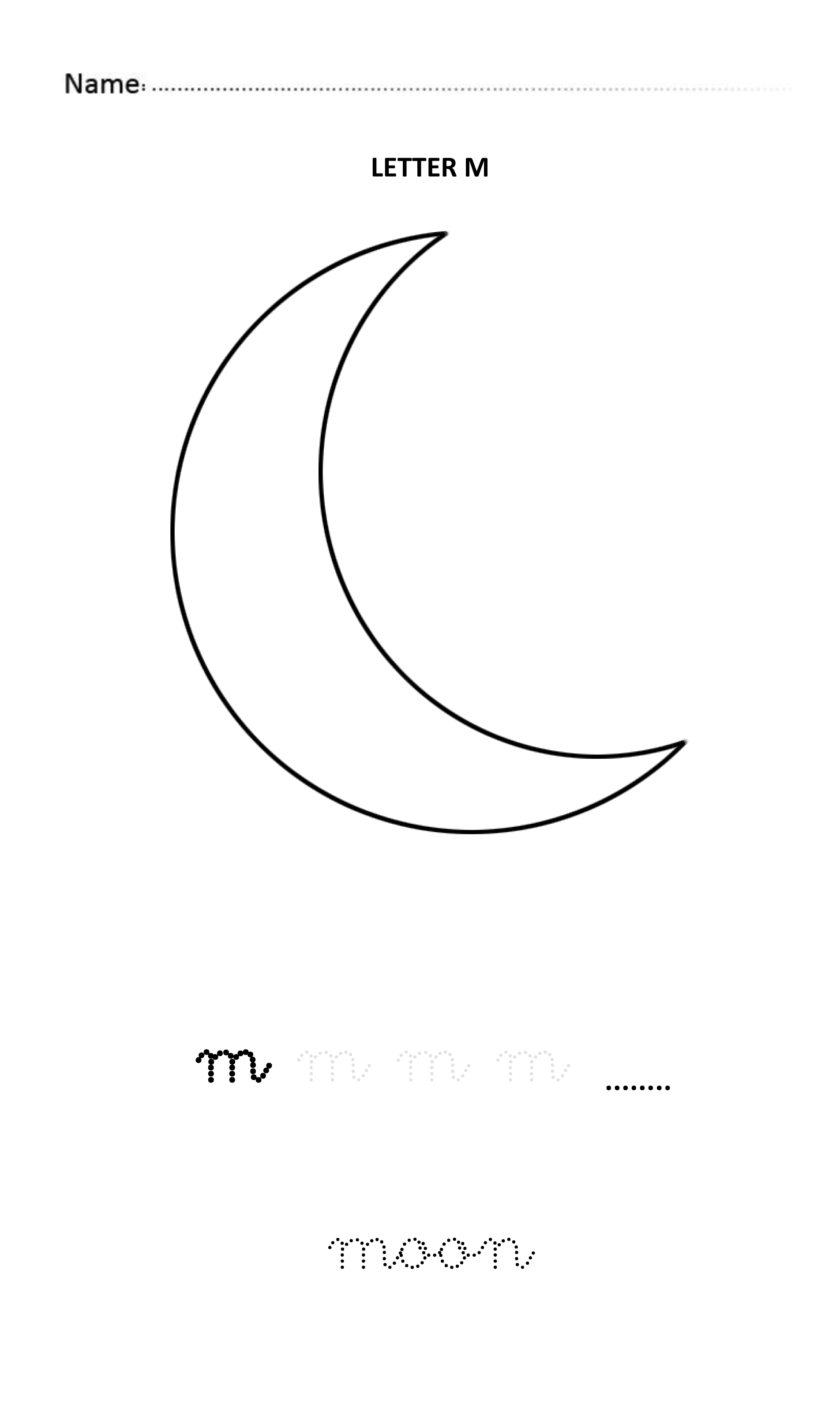 Letter M Easy And Visual Colouring Worksheet For Early