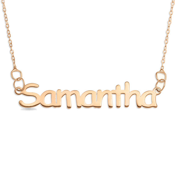 Block Name Necklace In 10k Rose Gold 1 Line 16 Name Necklace Rose Gold Gold