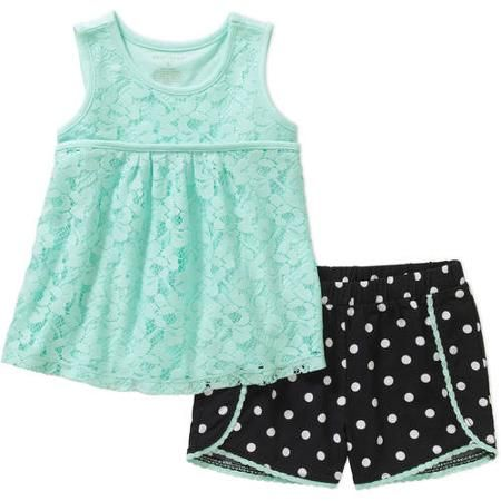 8f894bb62 Healthtex Baby Toddler Girl Fashion Tank and Shorts 2-Piece Outfit Set -  Walmart.com