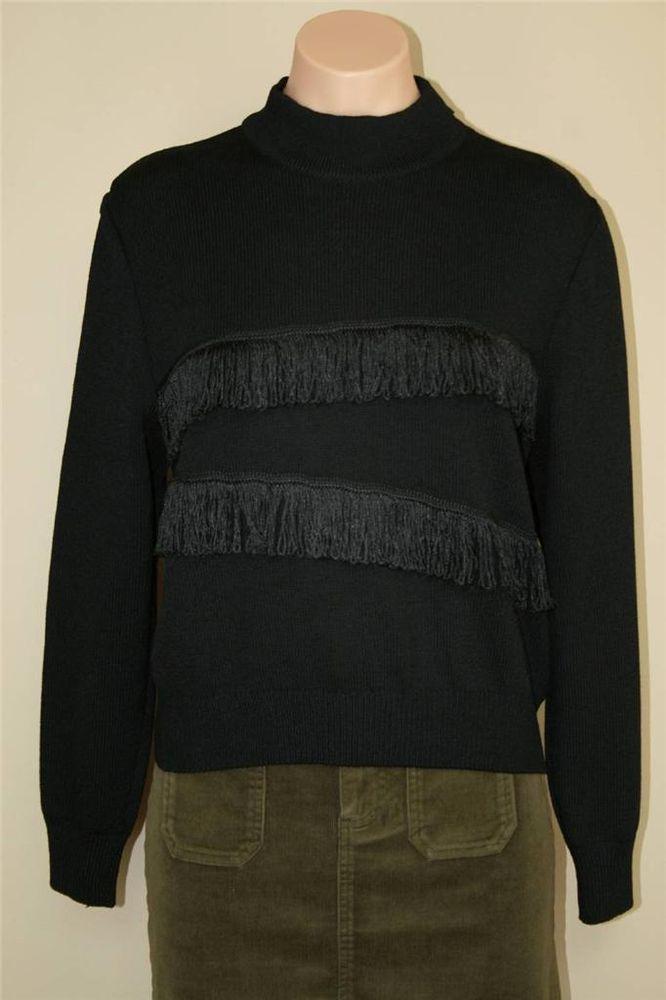 ST JOHN Sport MARIE GRAY Black Santana Knit Fringe Western Style Sweater size M #StJohn #TurtleneckMock
