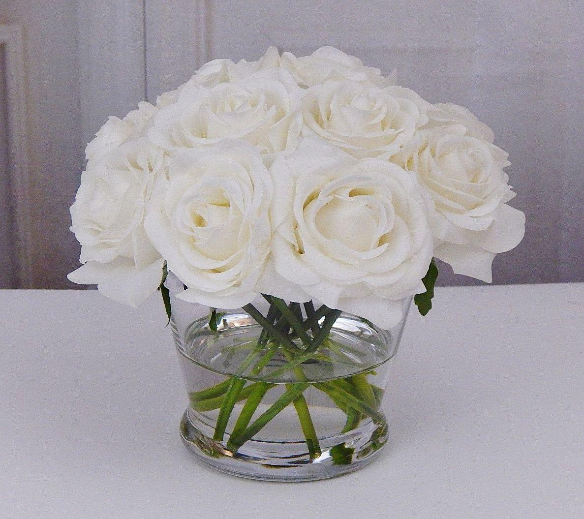 12 white or cream roseroses glass vase faux water acrylic 12 white or cream roseroses glass vase faux mightylinksfo