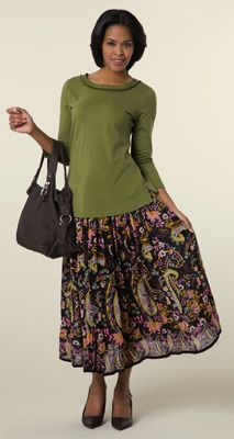 Juliet Brown Floral Paisley Skirt