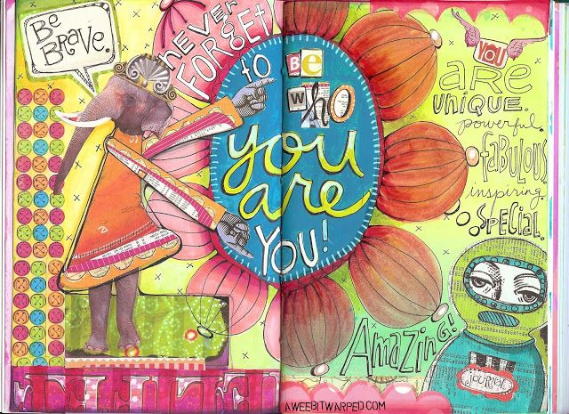 A Wee Bit Warped - Shelly Massey: Collage Sheet Journal Page