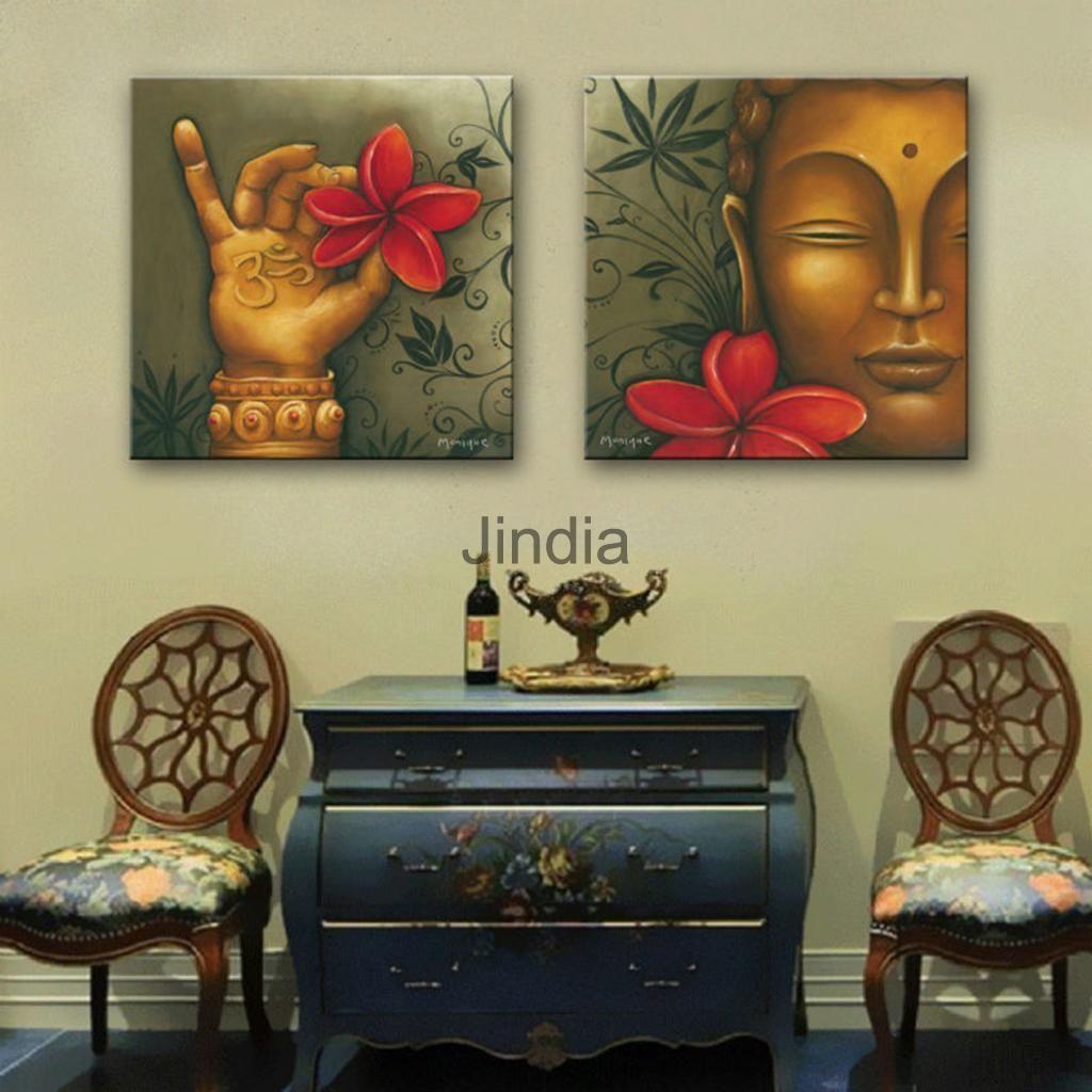 Canvas wall art decor painting artwork decor buddha and flower