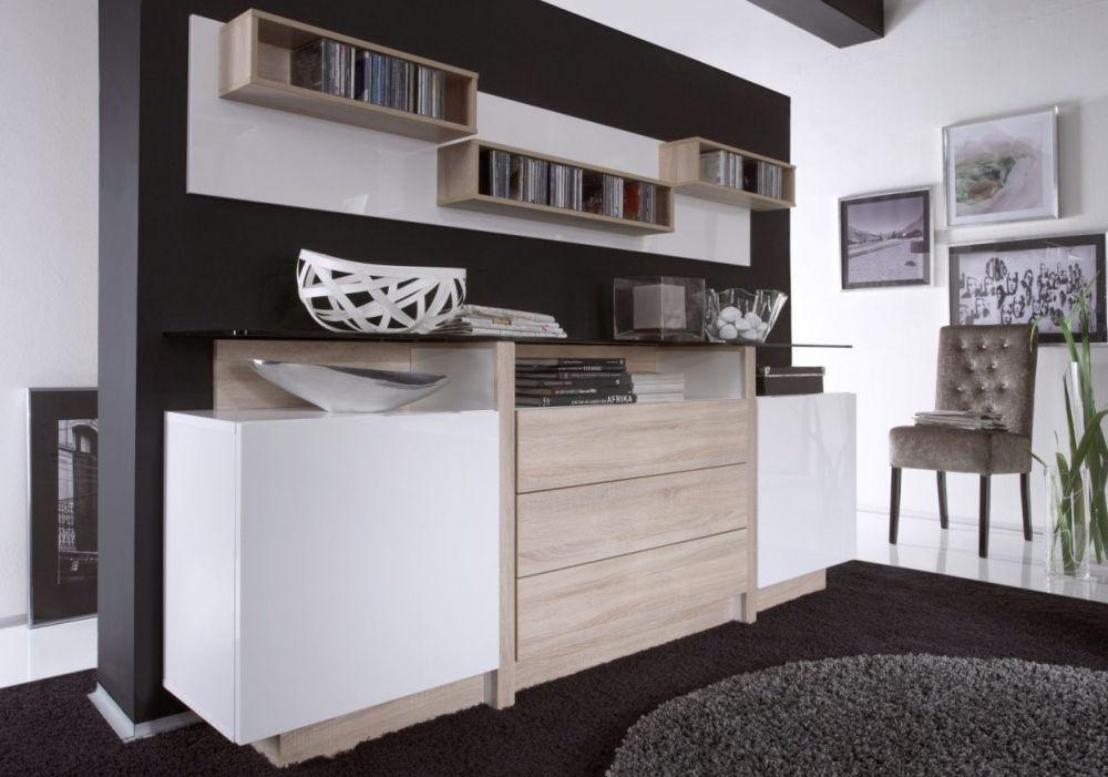 Duett 2 Sideboard Mit Glasboden Weiss Hochglanz Sonoma Eiche
