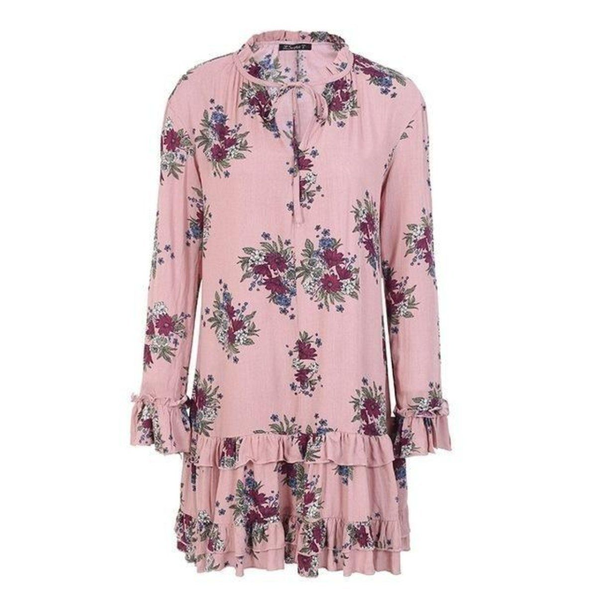 a0f5a6dad971 Ruffle V Neck Lace up Print Loose long sleeve Dress in 2019