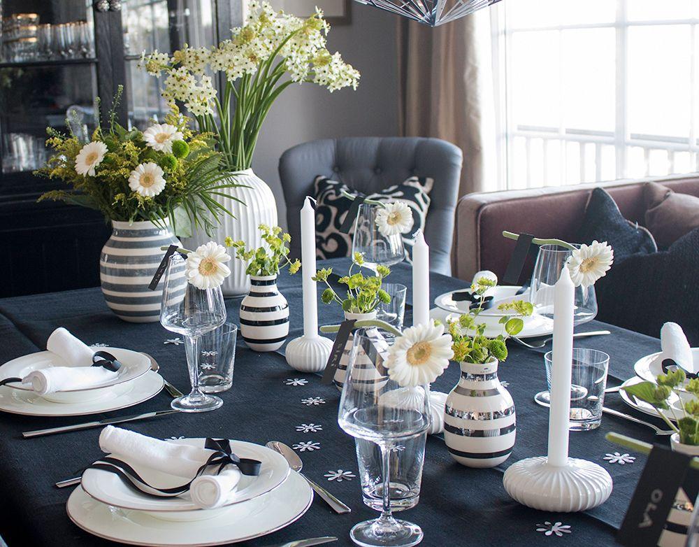 http://anettewillemine.com/  - Table setting, tablescape in black, white and green, made for a Confirmation. Borddekking i sort, hvitt og grønt, til konfirmasjon.